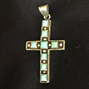 Other - Turquoise Stone Silver Cross Pendant